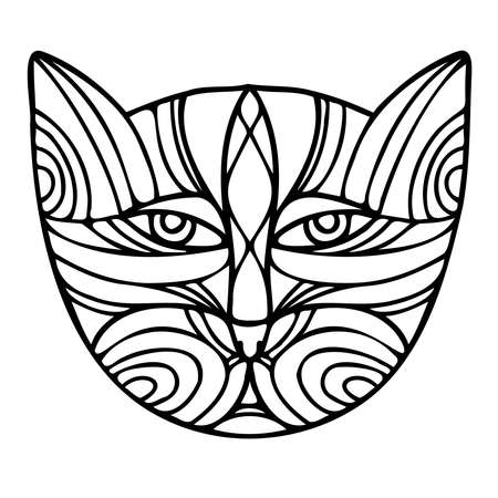 Isolated black and white vector illustration design of a lined abstract cat 向量圖像