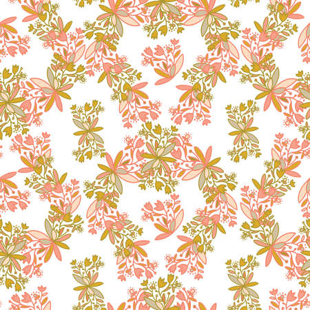 Seamless vector pattern of ornamental lined abstract flowers on white background 일러스트