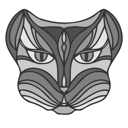 Isolated black and white vector illustration design of a grey lined abstract cat