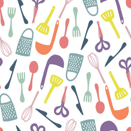 Seamless vector abstract colorful pattern of kitchen supplies