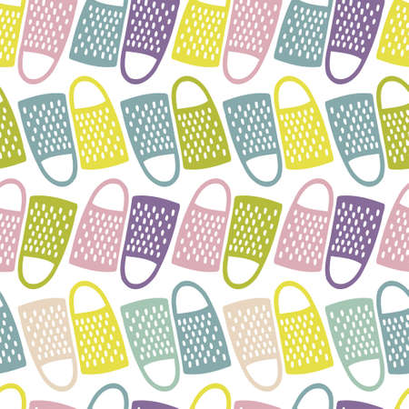 Seamless vector abstract colorful pattern of kitchen supplies graters Çizim