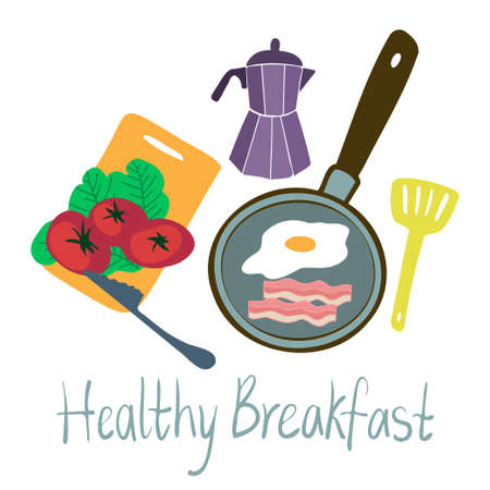Isolated vector illustration colorful design healthy breakfast with eggs, bacon and tomatoes