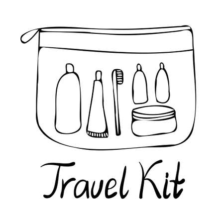 Isolated black and white set design illustration of lined travelling kit of cosmetics