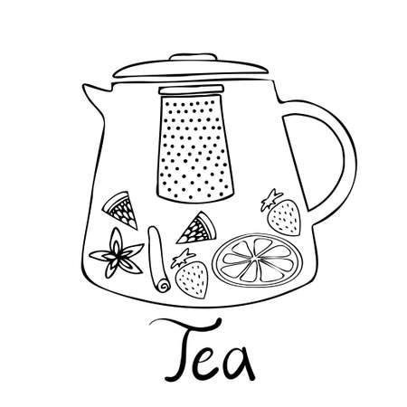 Isolated vector black and white illustration design of lined ornamental glass tea pot