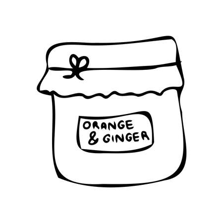 Vector isolated black and white lined design of glass jar with orange and ginger jam Çizim