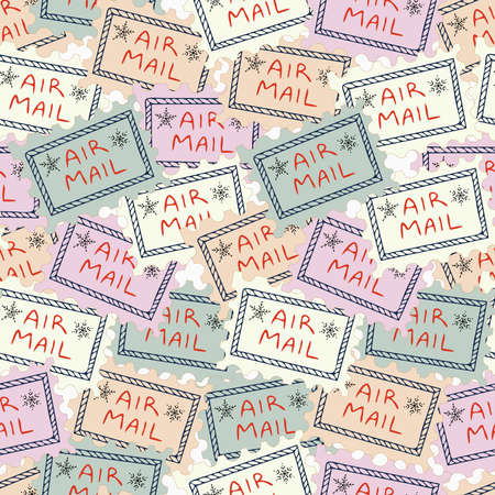 Vintage decorative seamless vector pattern design of a post stamp in pastel colors