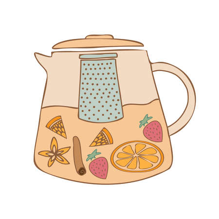 Isolated vector colorful illustration design of lined ornamental glass tea pot with fruits