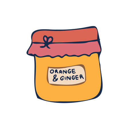Vector isolated colorful lined design of glass jar with orange and ginger jam