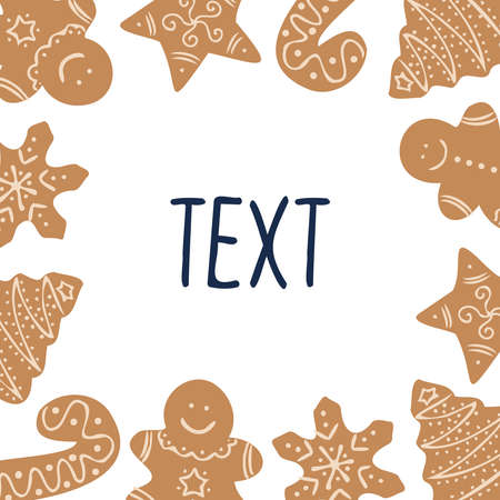 Isolated vector colorful illustration frame with traditional ginger bread figures  イラスト・ベクター素材