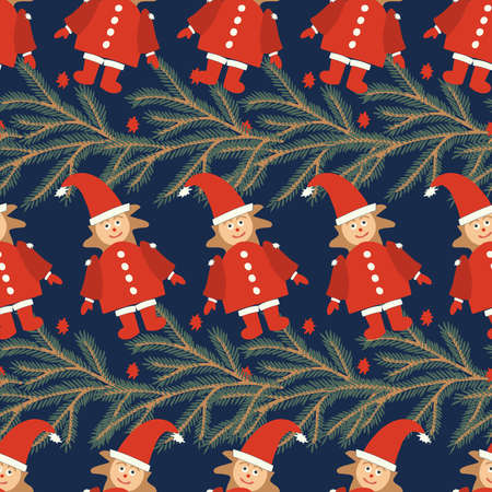Vector seamless pattern colorful design with decorative Christmas tree branch and Santa elves