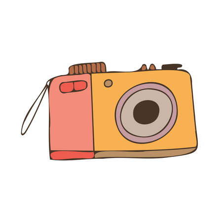 Cute colorful isolated vector design illustration of decorative vintage photo camera in pastel colors