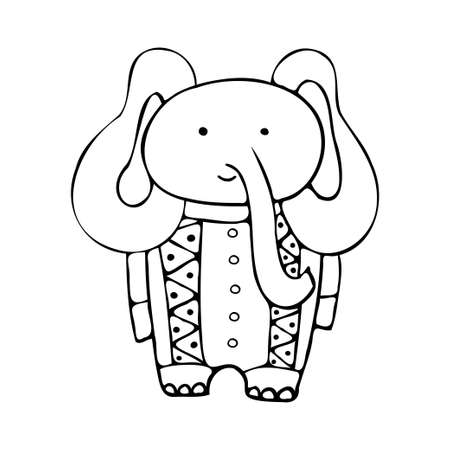 Isolated vector black and white design set with graphic silhouettes of cute elephant in ornamental costume 일러스트