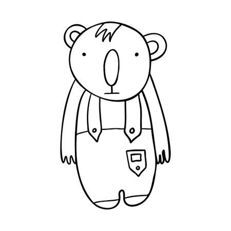 Cute isolated vector illustration black and white design of adorable koala in costume