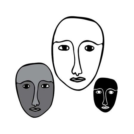 Isolated black and white vector illustration set of abstract lined cubist faces