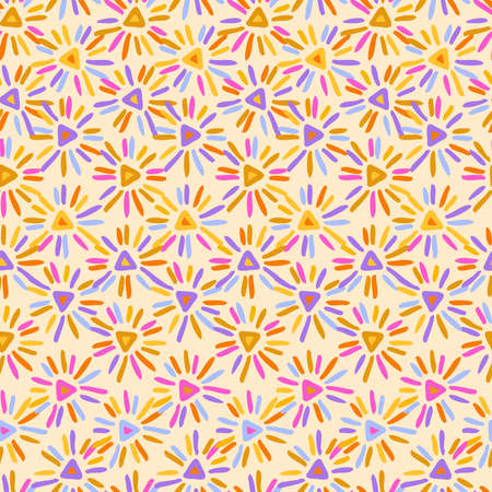 Vector seamless pattern colorful design of abstract hand-drawn flowers in pastel colors
