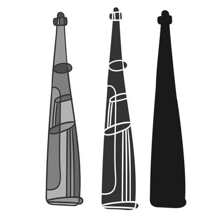Isolated vector black and white illustration design set of lined beverage bottles