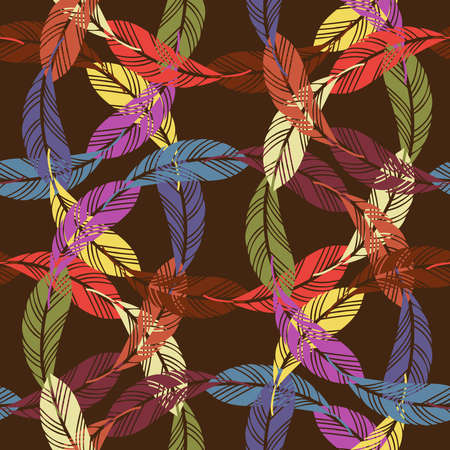 Seamless pattern with abstract geometric feather lace in bright tones on dark brown background