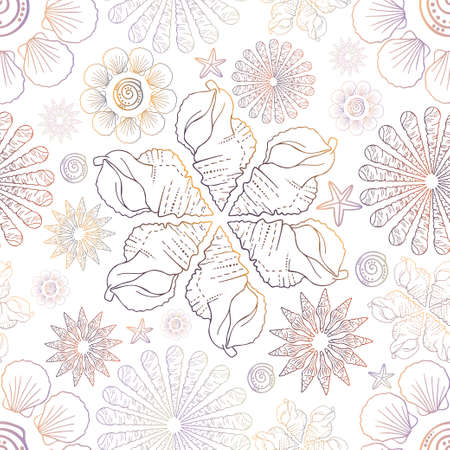 Decorative seamless elegant pattern design of seashells in floral forms in pastel colors