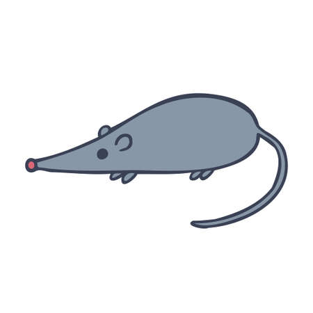 Isolated design with graphic silhouettes of grey mouse on white background