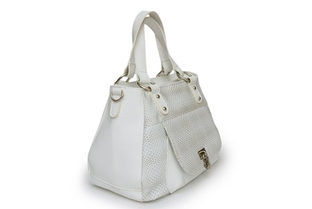 Leather bag on a white background