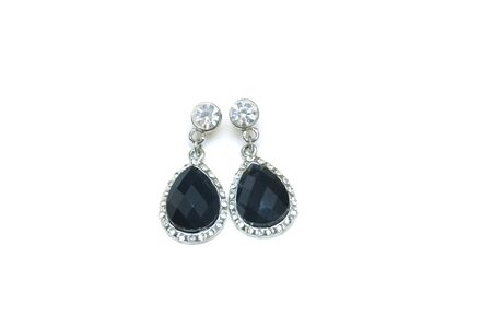 ear rings: Silver earrings isolated on the white background
