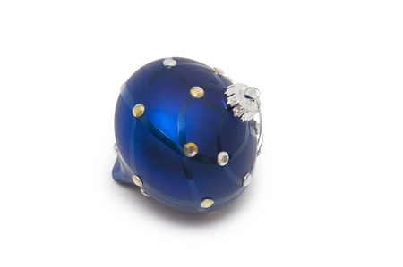 blue christmas ball isolated on a white Stock Photo