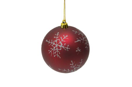 Red Christmas ball on white background