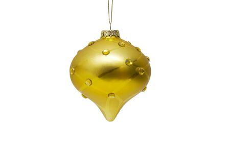 Golden Christmas ball on white background