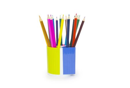 pencils in holder isolated on white background photo