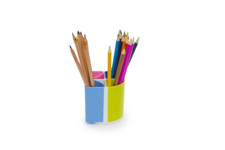 Various colour pencils isolated on the white Stock Photo