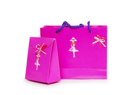 pink gift boxes on white background. Stock Photo - 18420536