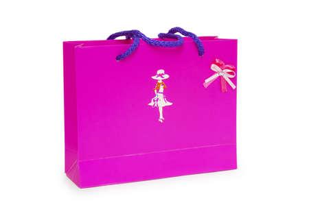 Single pink gift box on white background. Stock Photo - 18420657