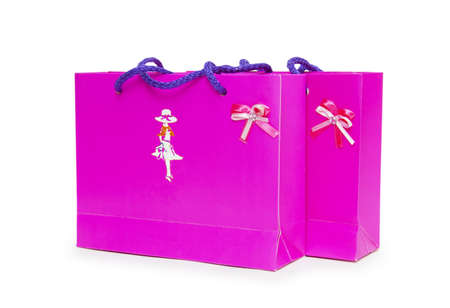 pink gift boxes on white background.  Stock Photo - 18420745