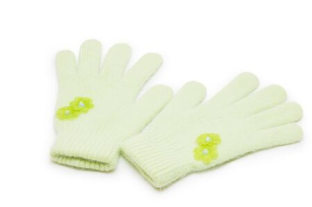 woman knitted gloves, isolated on white