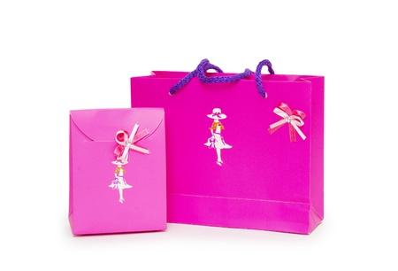 pink gift boxes on white background.  Stock Photo - 18420676