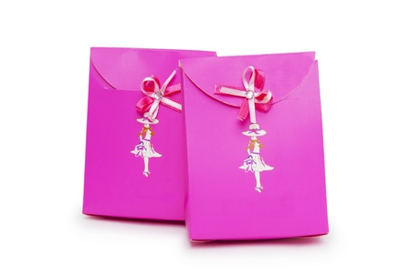 pink gift boxes on white background. Stock Photo - 18424236