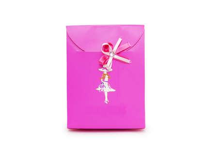 pink gift box on white background. Stock Photo - 18424181