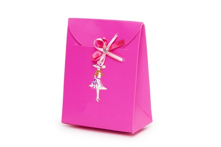 Single pink gift box on white background.  Stock Photo - 18424241