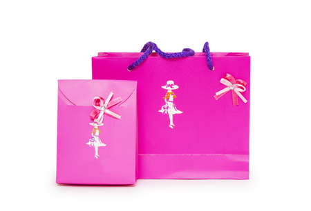 Pink gift bags on a white background.  Stock Photo - 18424266