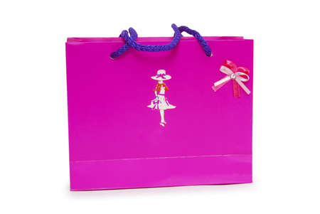 Single pink gift box on white background. Stock Photo - 18424245