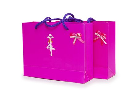 pink gift boxes on white background. Stock Photo - 19359288