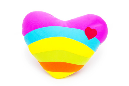 Heart pillow isolated on white background Stock Photo