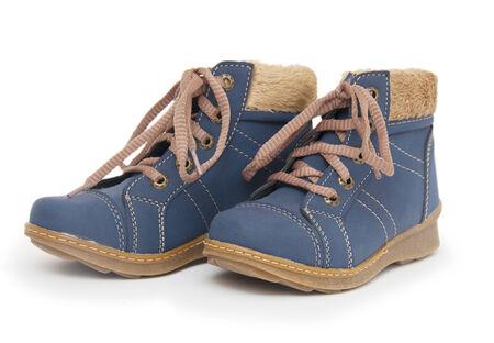 Blue children`s boots  Stock Photo