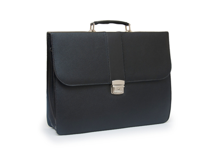 Black business briefcase (front view) on white background