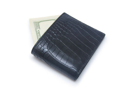 path to wealth: Leather wallet with money isolated on white