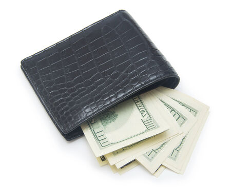 path to wealth: Leather wallet with money isolated on white background