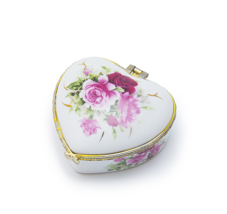 trinket:  jewelry box isolated on white