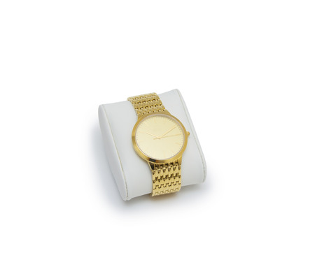 chronograph: golden watch isolated on a white background