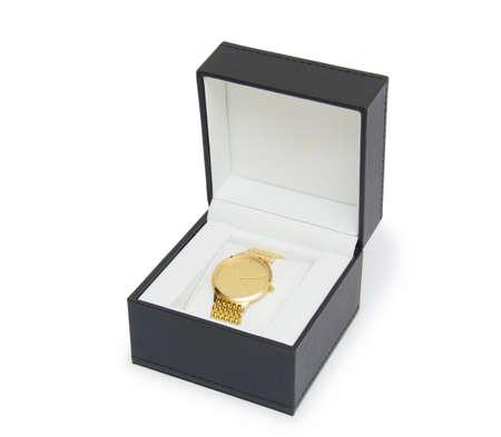 luxury man clock in gift box against white background Stock Photo