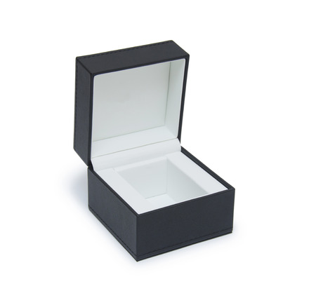 gift packs: Open black gift box isolated on white Stock Photo